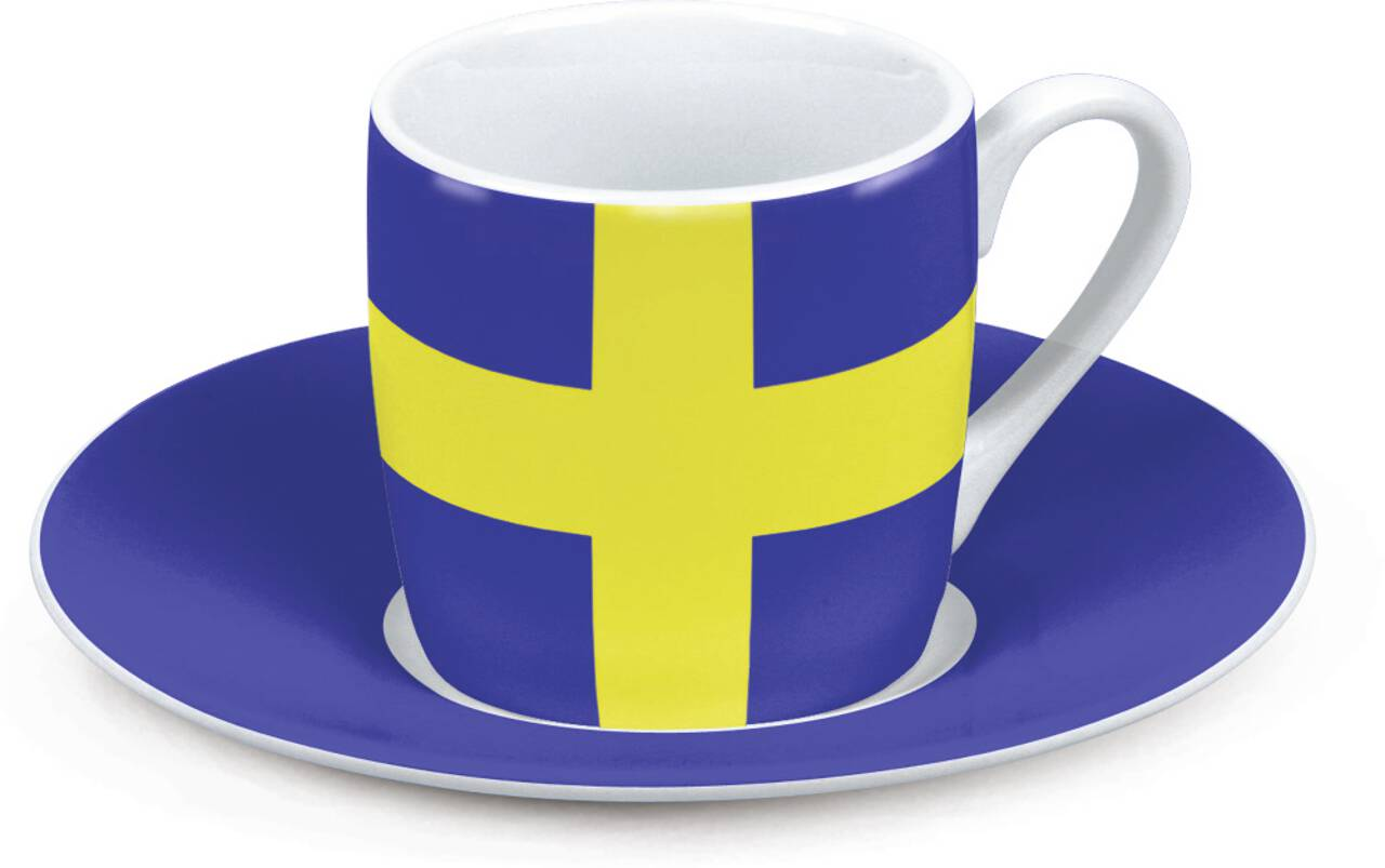 Motiv Schwedenflagge auf Espressotasse mit Untertasse