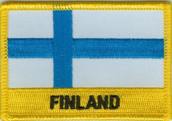 Flaggenaufnäher Finnland mit Schrift