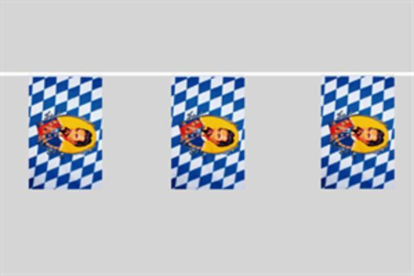 Flaggenkette Bayern mit König Ludwig 6 m 8 Flaggen