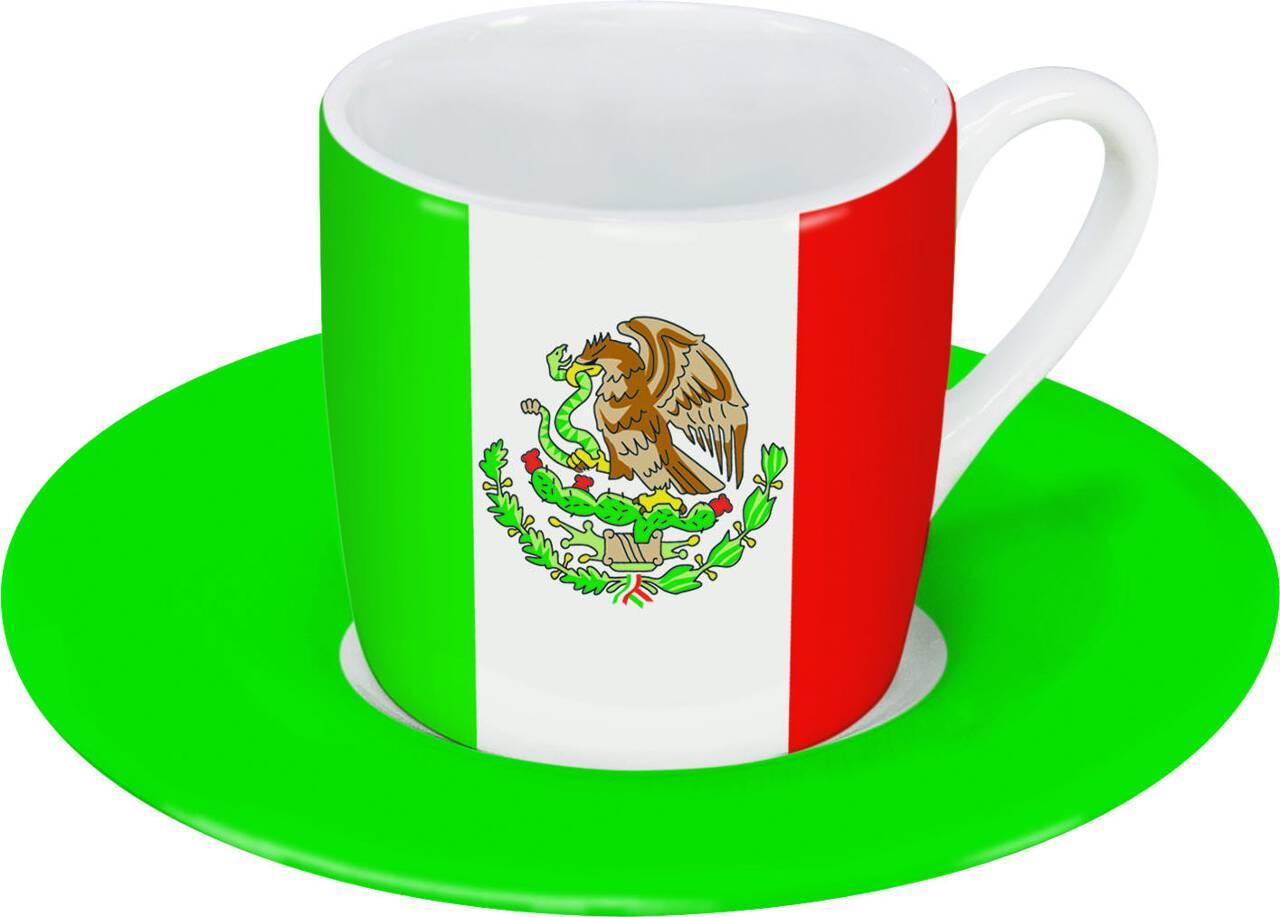 Motiv Mexikoflagge auf Espressotasse mit Untertasse