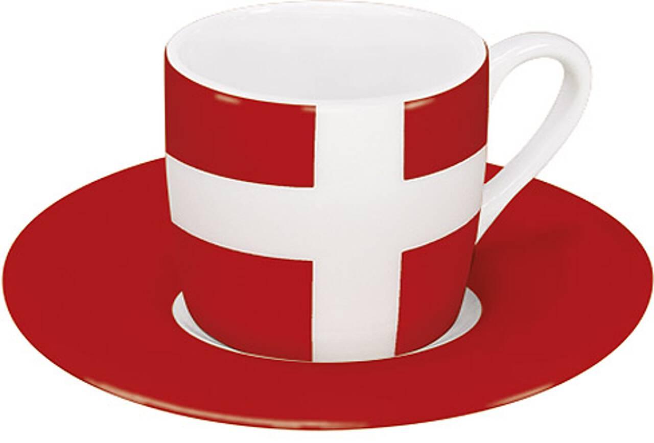 Motiv Dänemarkflagge auf Espressotasse mit Untertasse