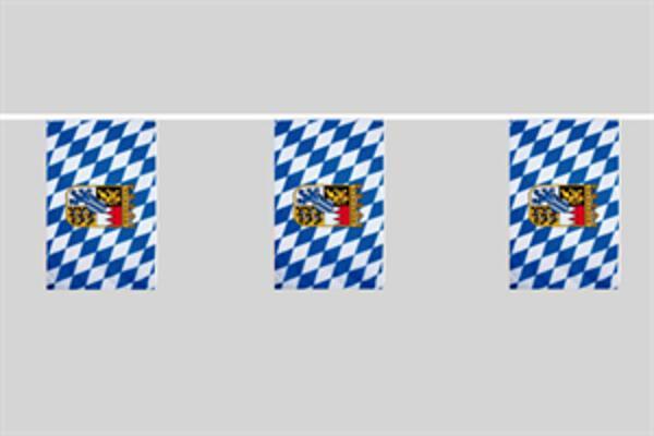 Flaggenkette Bayern mit Wappen 6 m 8 Flaggen