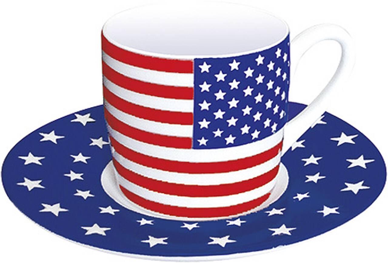 Motiv USAflagge auf Espressotasse mit Untertasse