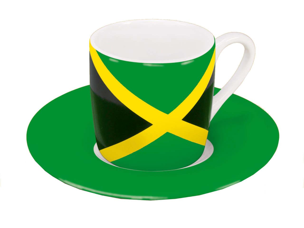 Motiv Jamaikaflagge auf Espressotasse mit Untertasse