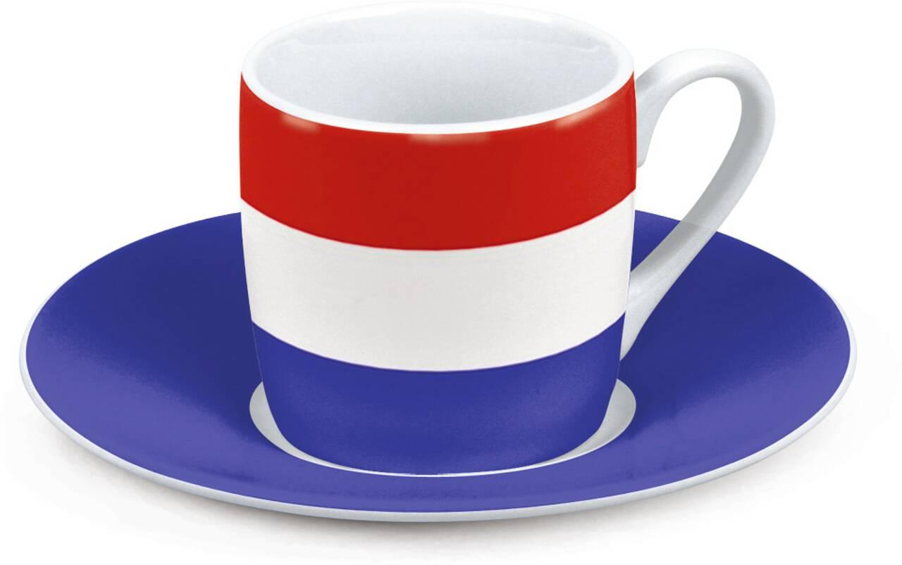 Motiv Niederlandeflagge auf Espressotasse mit Untertasse