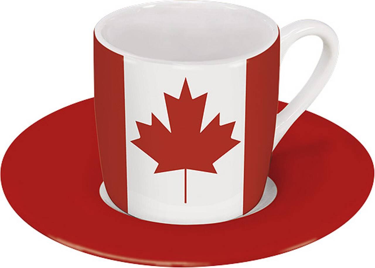 Motiv Kanadaflagge auf Espressotasse mit Untertasse