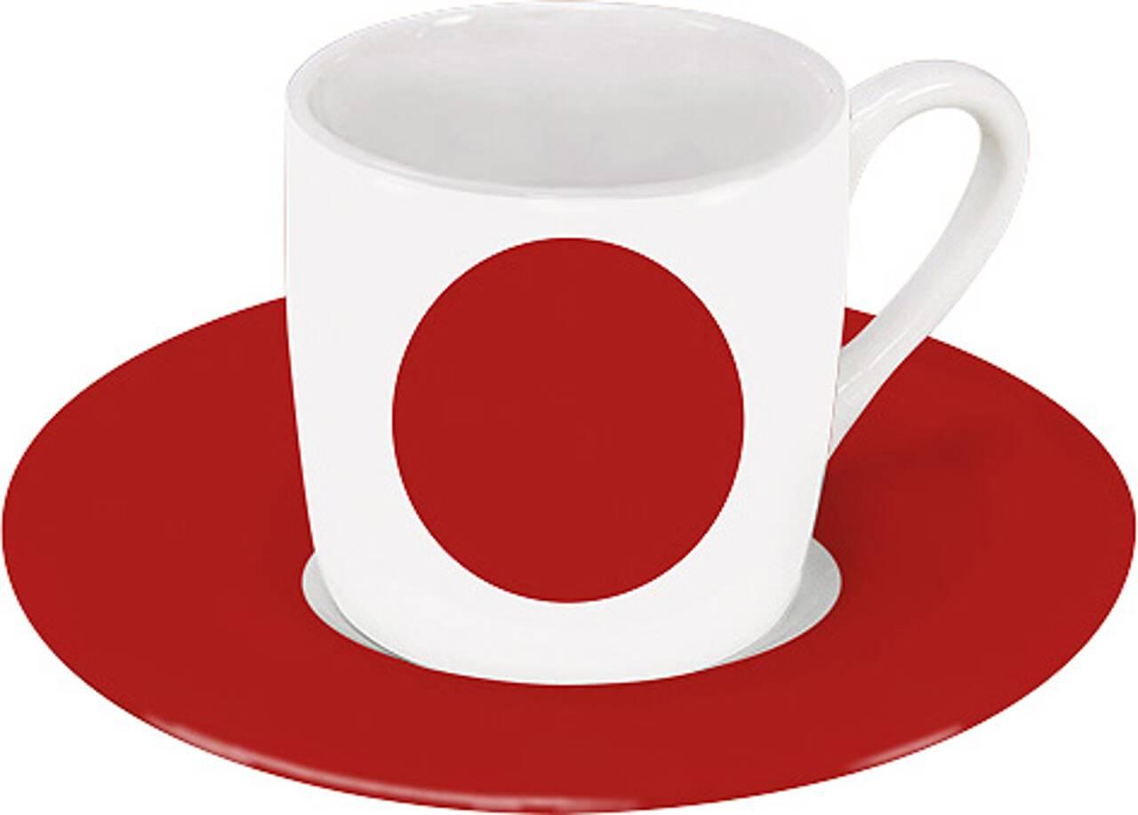 Motiv Japanflagge auf Espressotasse mit Untertasse