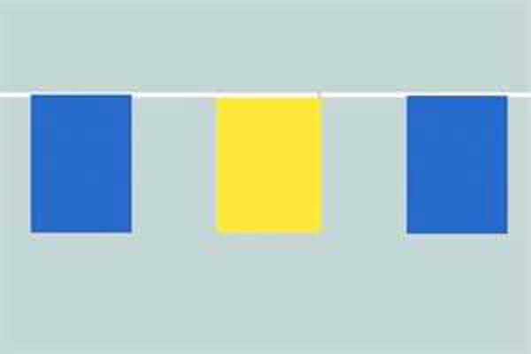 Flaggenkette Blau Gelb im Wechsel 6 m 8 Flaggen