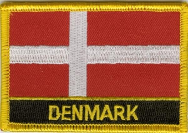 Flaggenaufnäher Dänemark mit Schrift