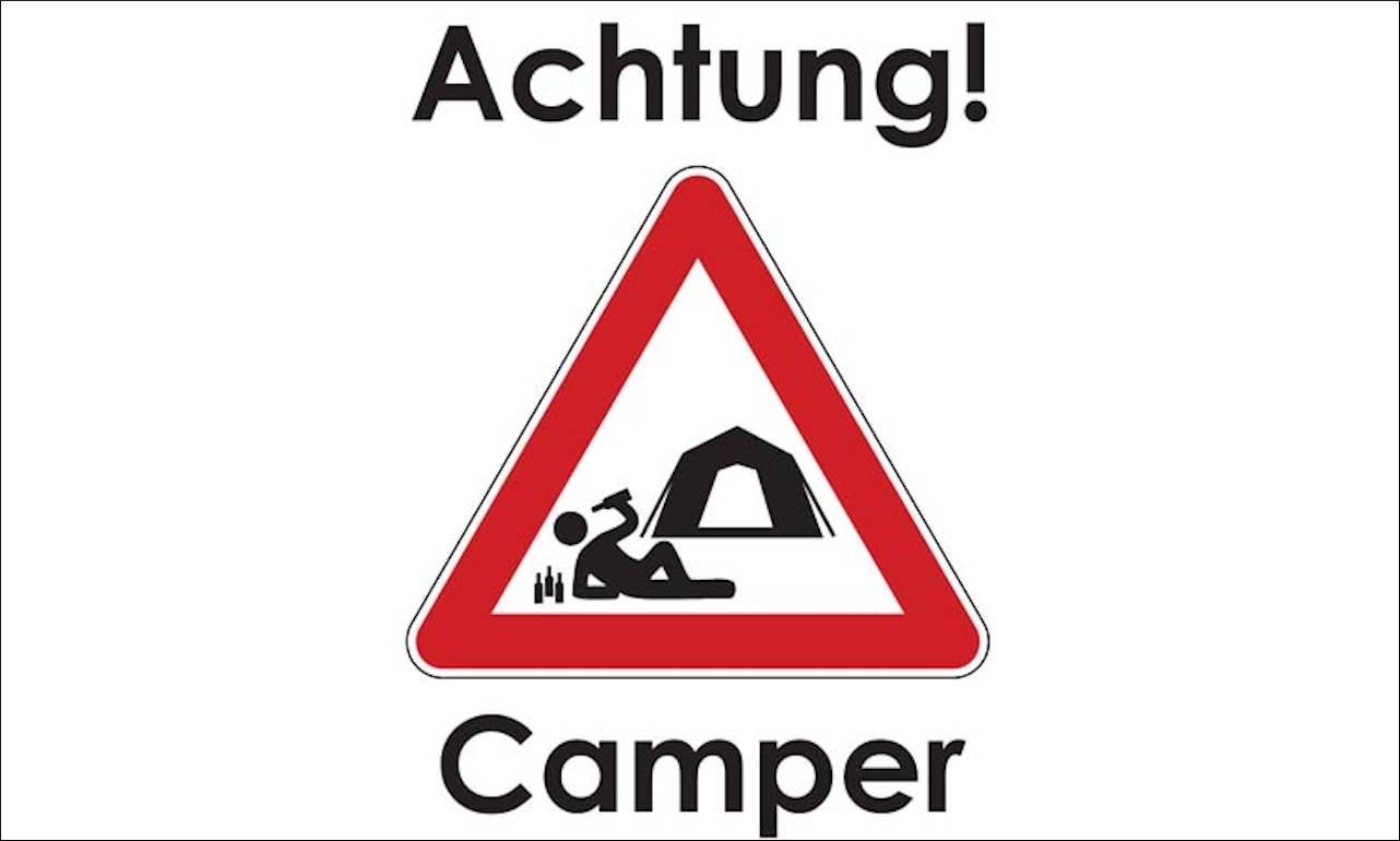 Flagge Achtung Camper 80 g/m²