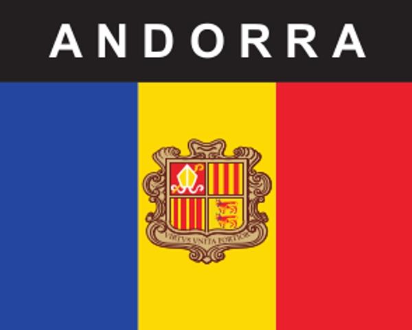 Flaggenaufkleber Andorra mit Wappen