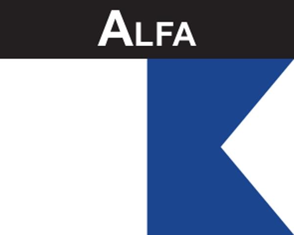 Flaggenaufkleber Signalflagge Alfa