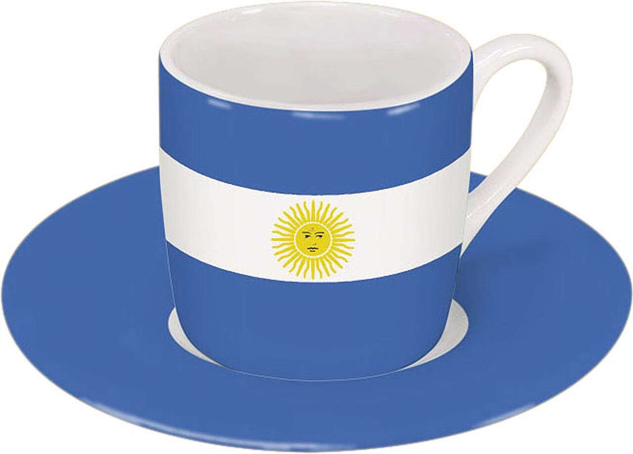 Motiv Argentinienflagge auf Espressotasse mit Untertasse