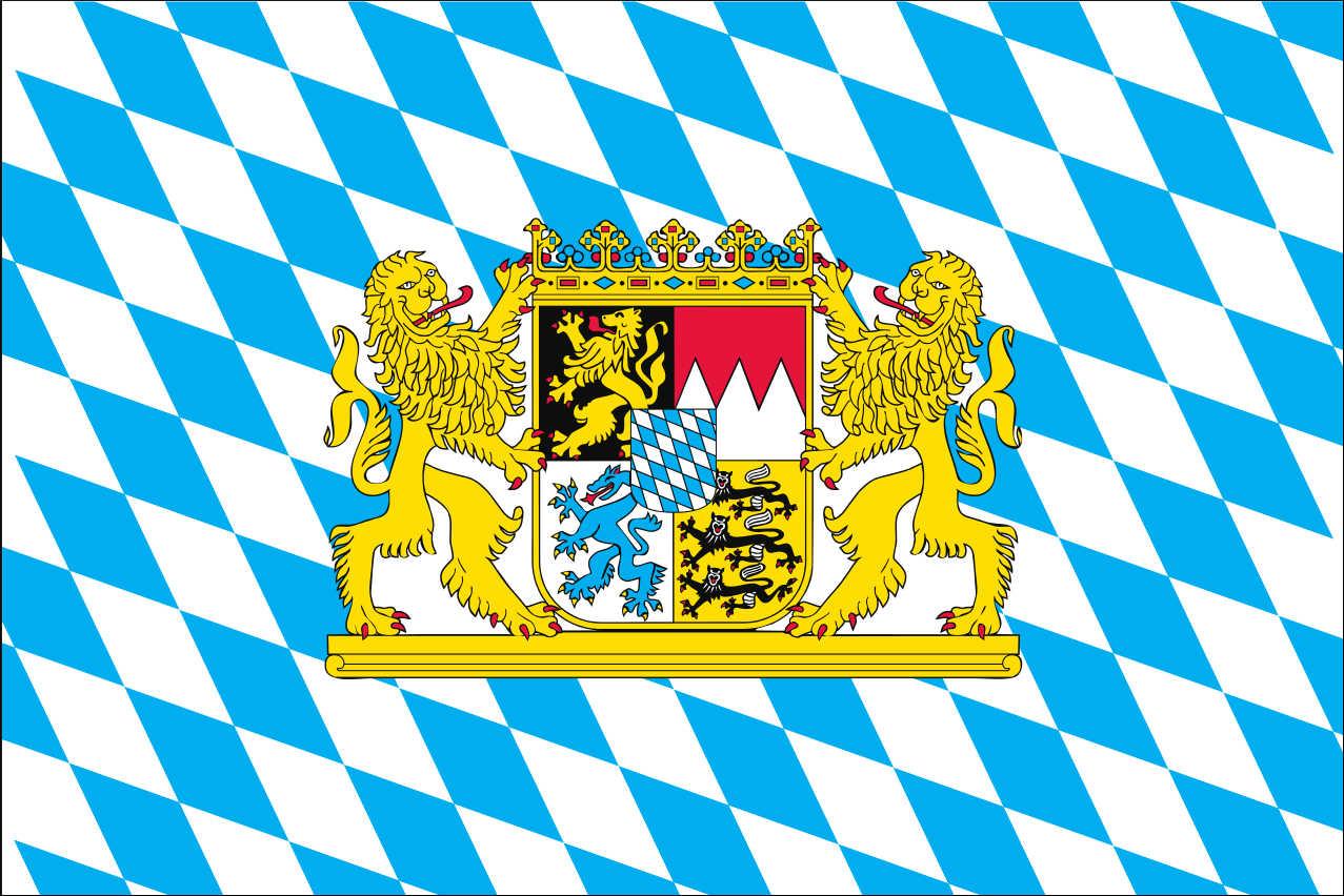 Flagge Bayern mit Wappen und Löwen 160 g/m² Querformat