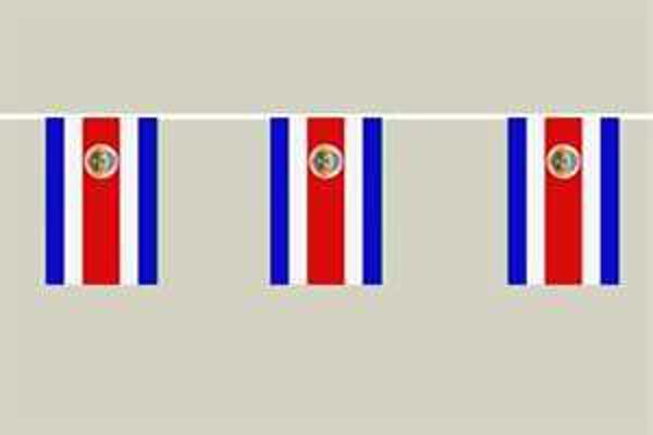 Flaggenkette Costa Rica mit Wappen 6 m 8 Flaggen