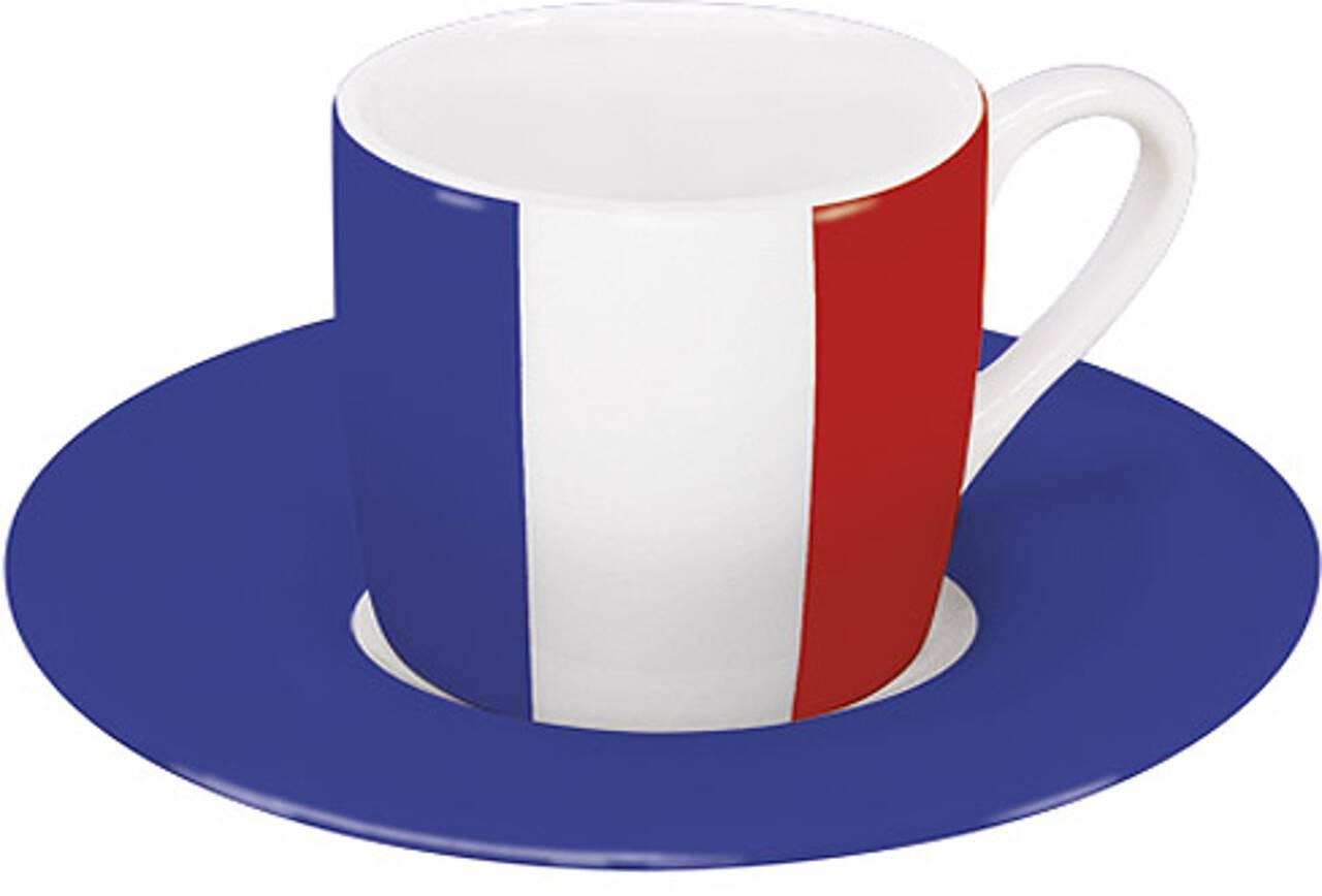 Motiv Frankreichflagge auf Espressotasse mit Untertasse