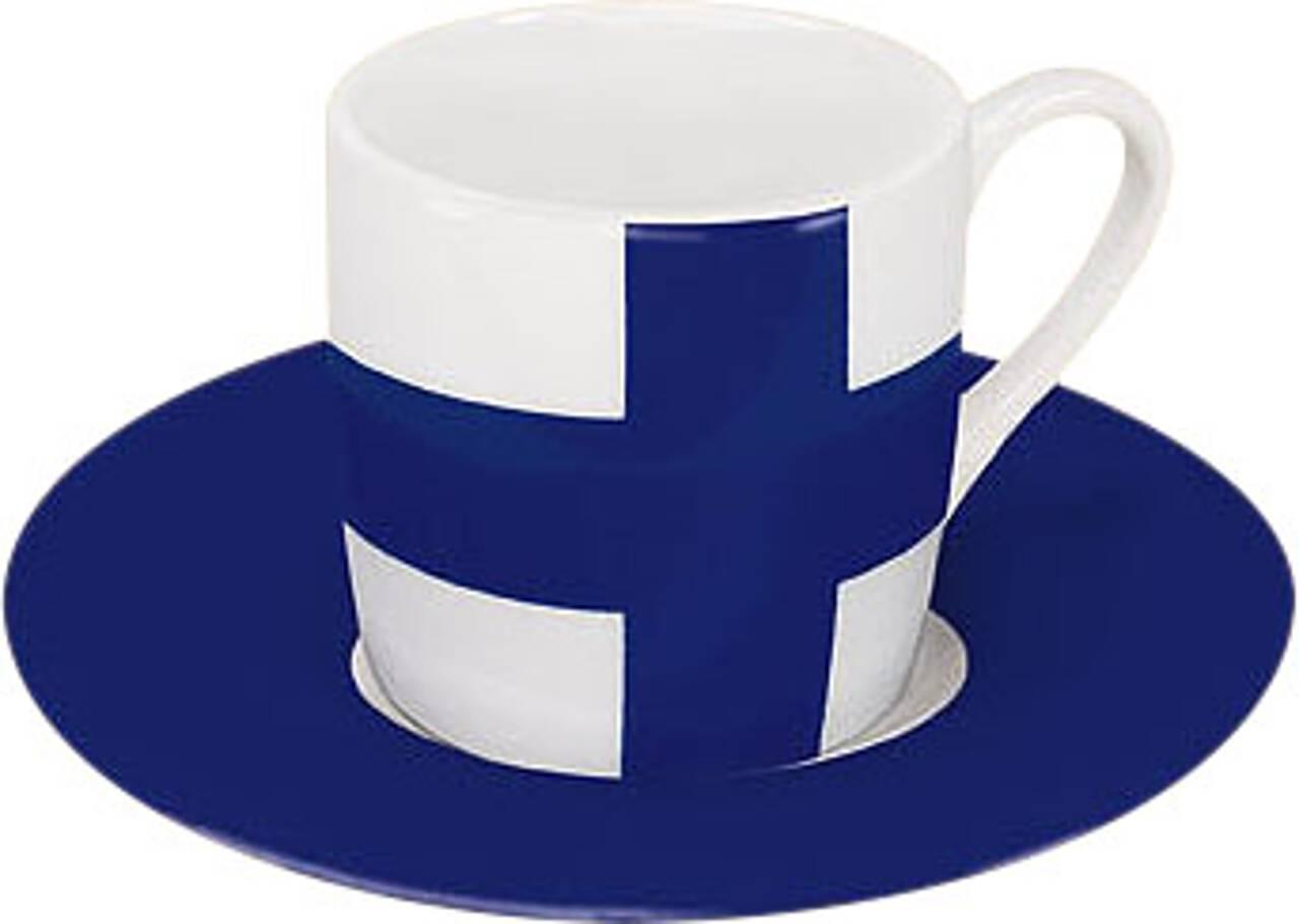Motiv Finnlandflagge auf Espressotasse mit Untertasse