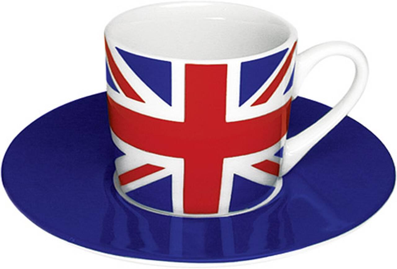 Motiv Großbritannienflagge auf Espressotasse mit Untertasse