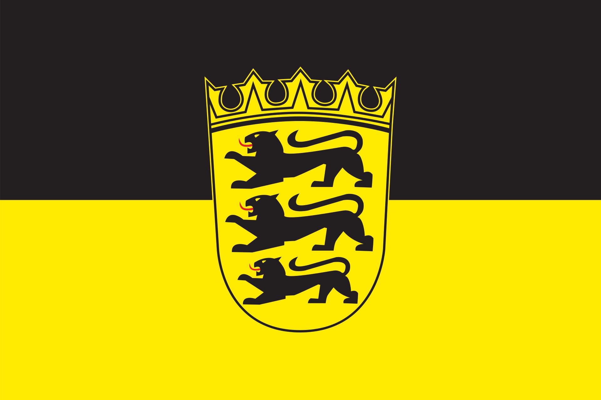 Tischflagge Baden-Württemberg mit Wappen