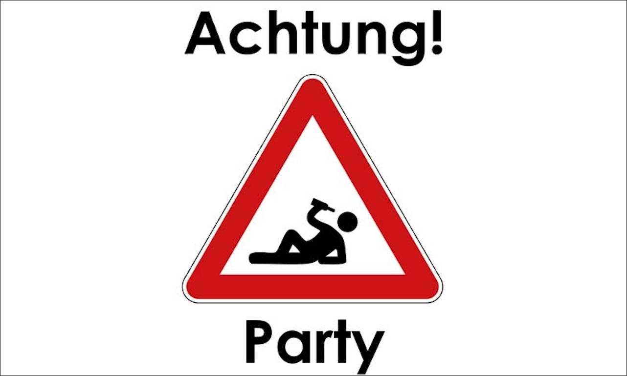Flagge Achtung Party 80 g/m²