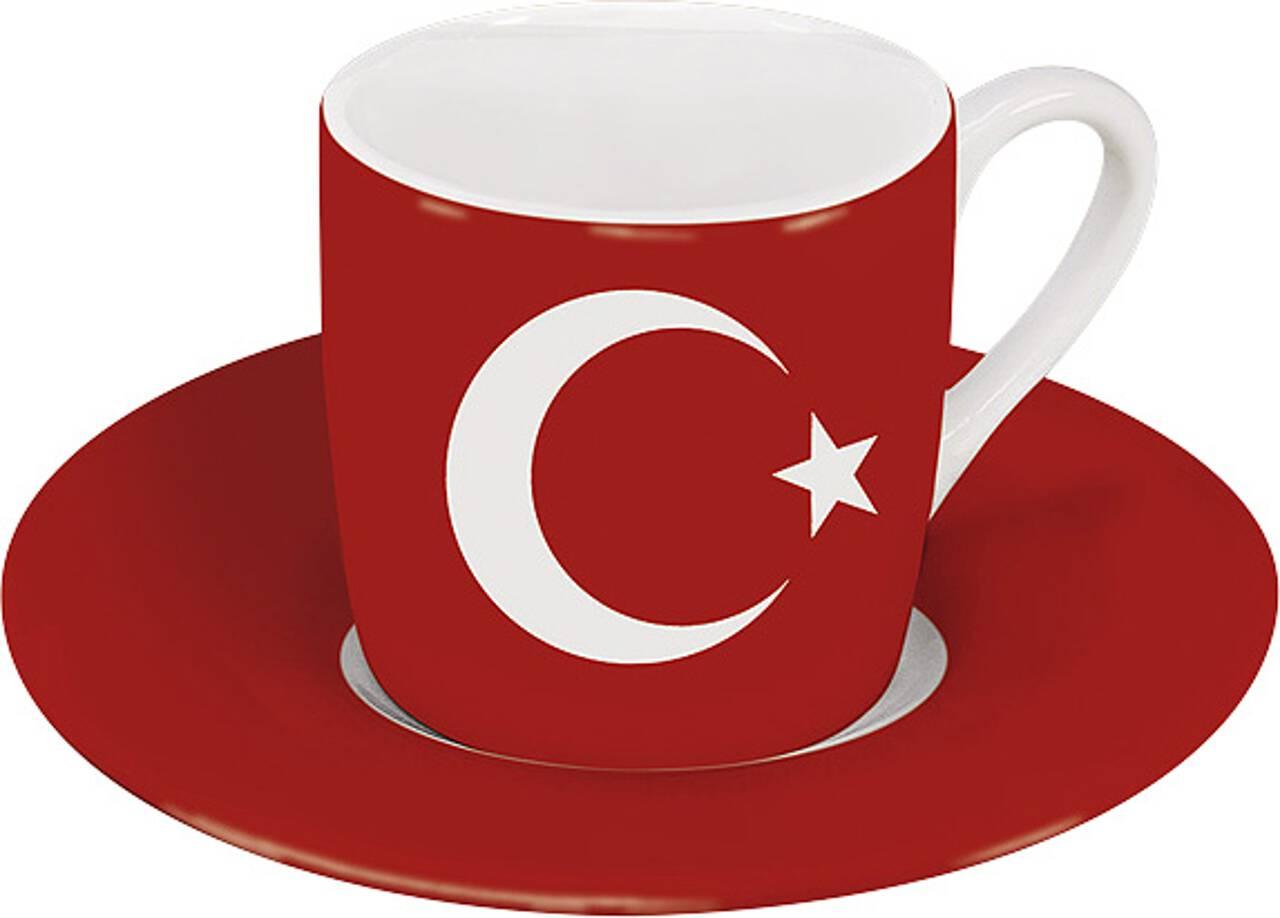 Motiv Türkeiflagge auf Espressotasse mit Untertasse