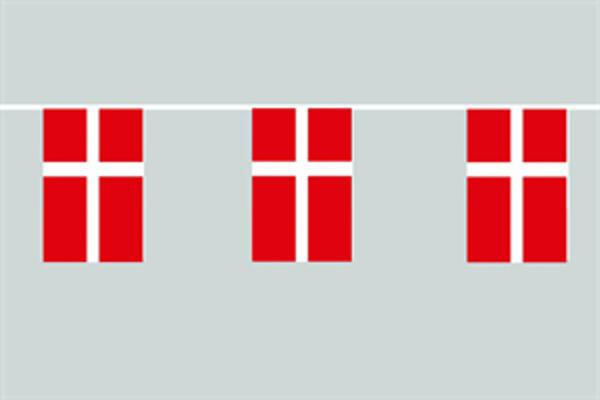 Flaggenkette Dänemark 6 m 8 Flaggen