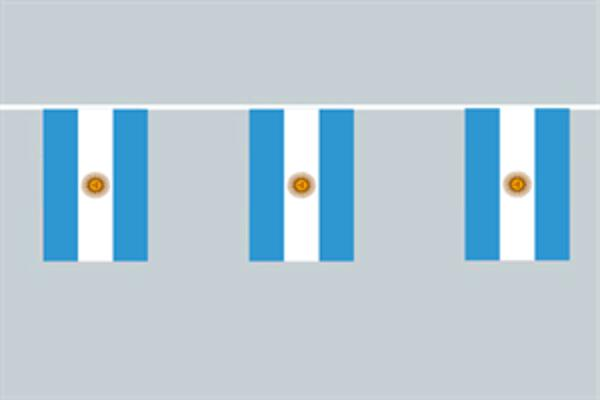 Flaggenkette Argentinien mit Wappen 6 m 8 Flaggen
