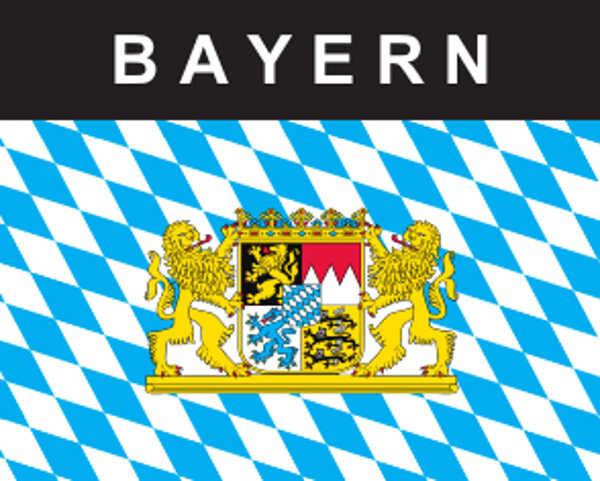 Flaggenaufkleber Bayern mit Wappen und Löwen