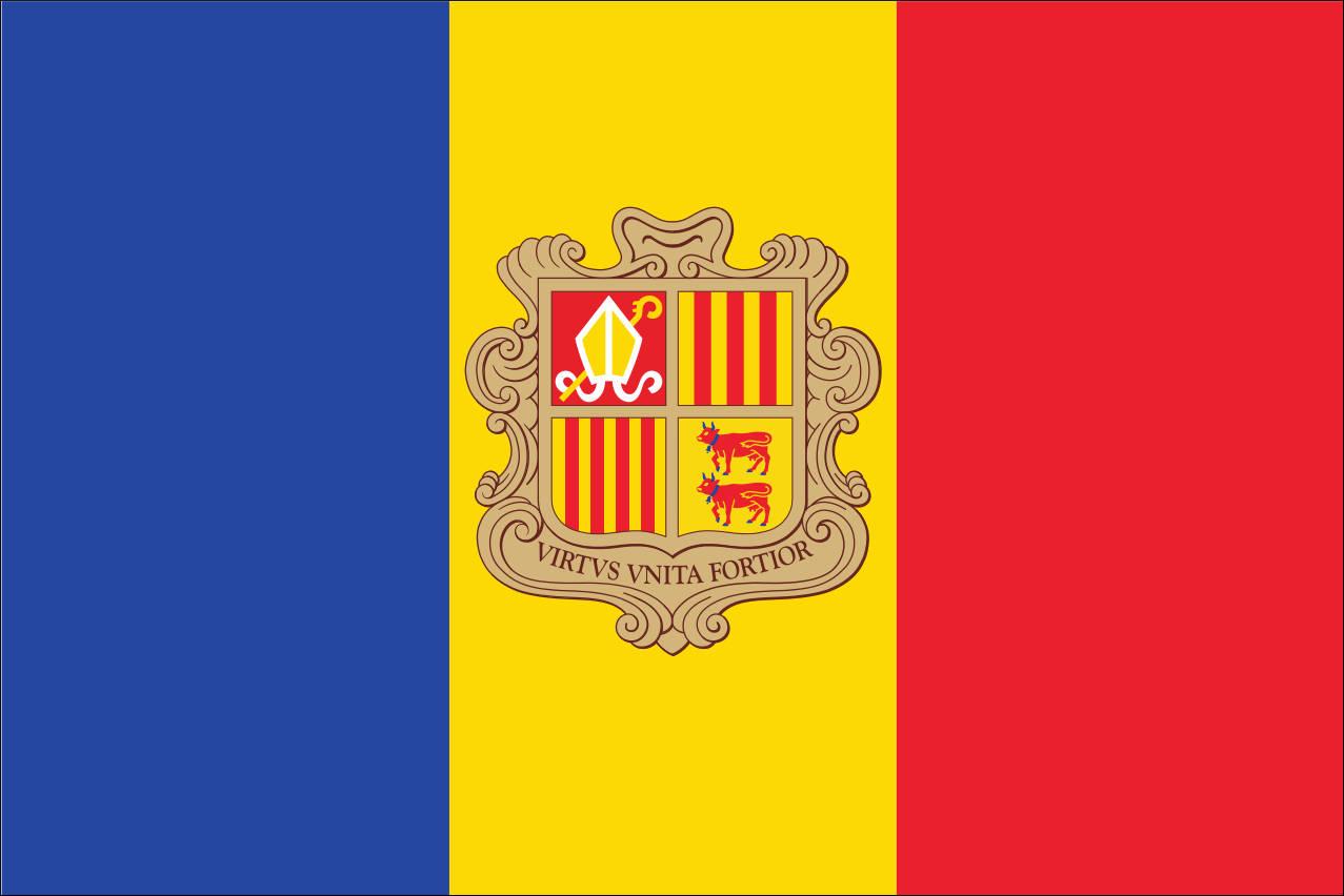 Flagge Andorra mit Wappen 160 g/m² Querformat