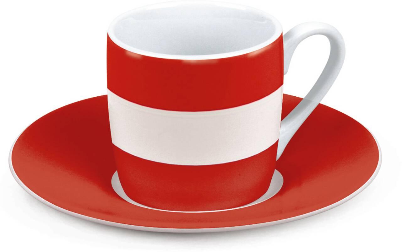 Motiv Österreichflagge auf Espressotasse mit Untertasse