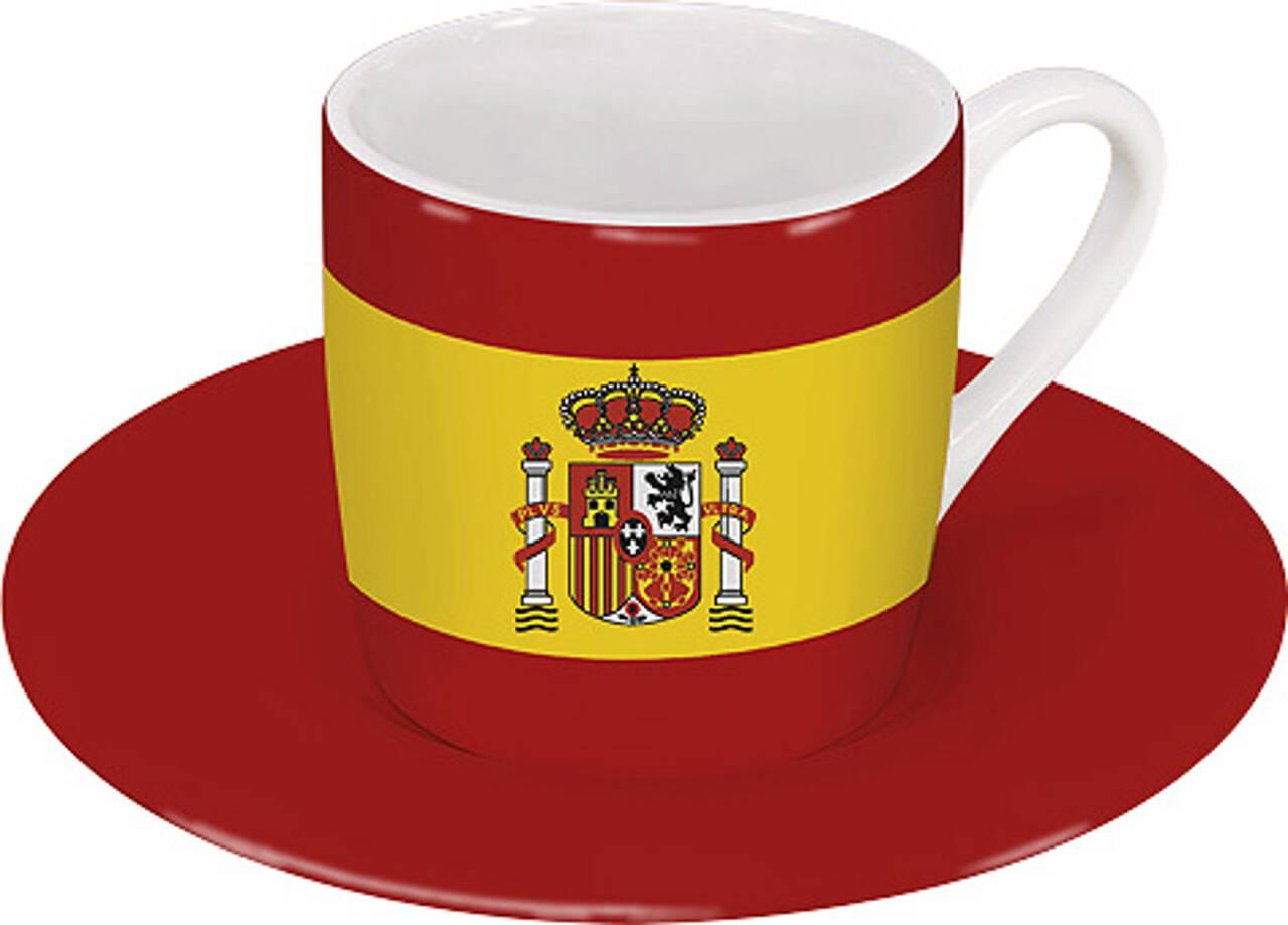 Motiv Spanienflagge auf Espressotasse mit Untertasse