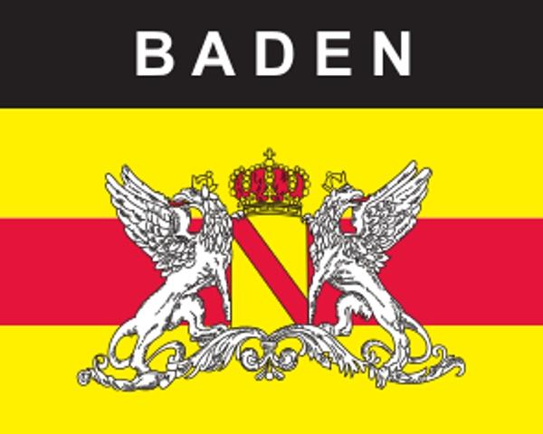 Flaggenaufkleber Baden mit Wappen