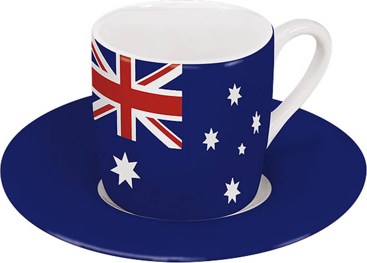 Motiv Australienflagge auf Espressotasse mit Untertasse
